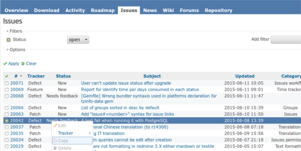 screenshot of our issue tracking system